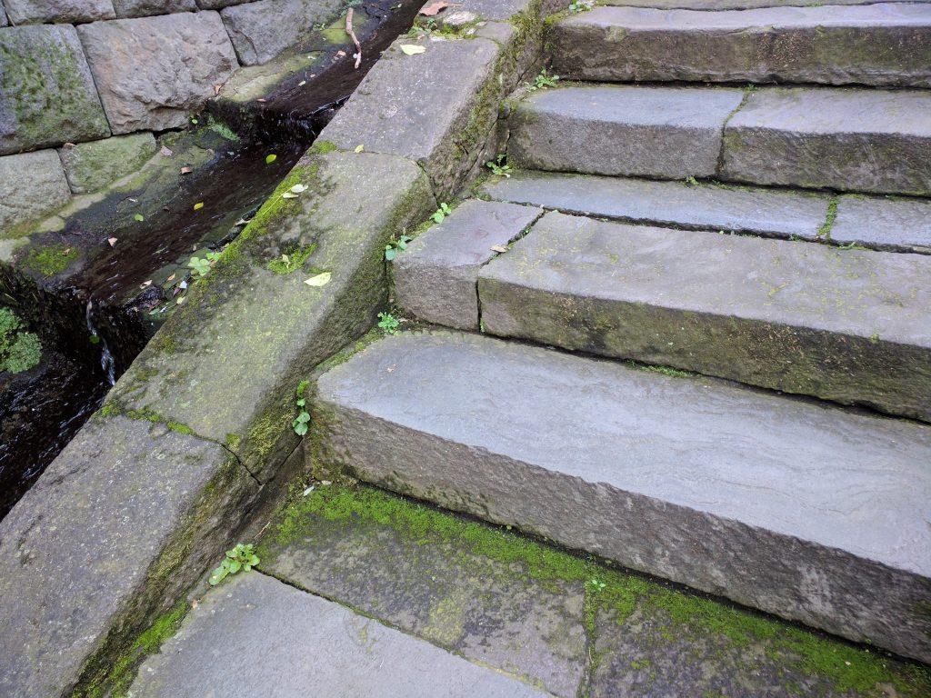 石段の脇には水が流れていました